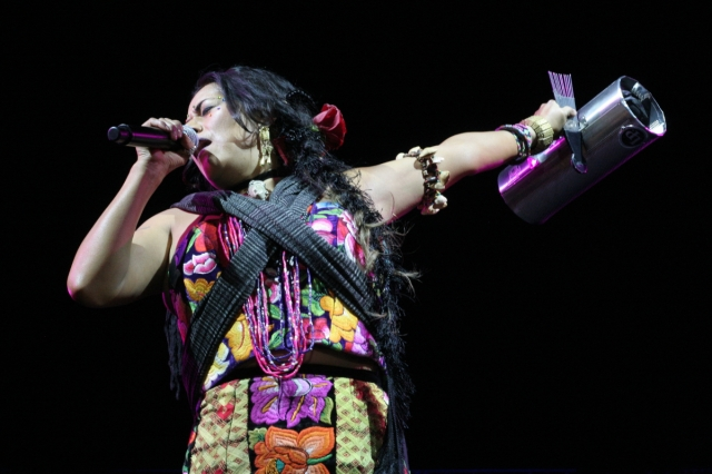 Lila Downs performing at Hollywood Forever Cemetery's Dia de los Muertos event.
